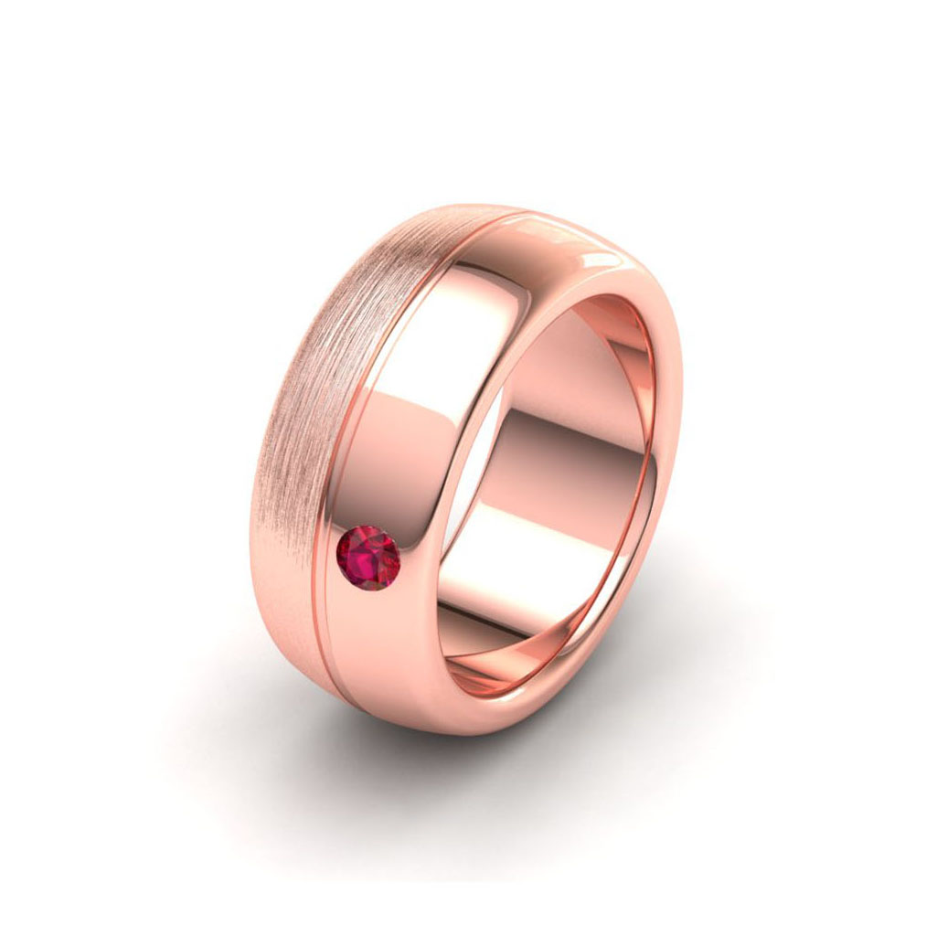 Matte and Gloss Rose Gold Men's Ring_image1