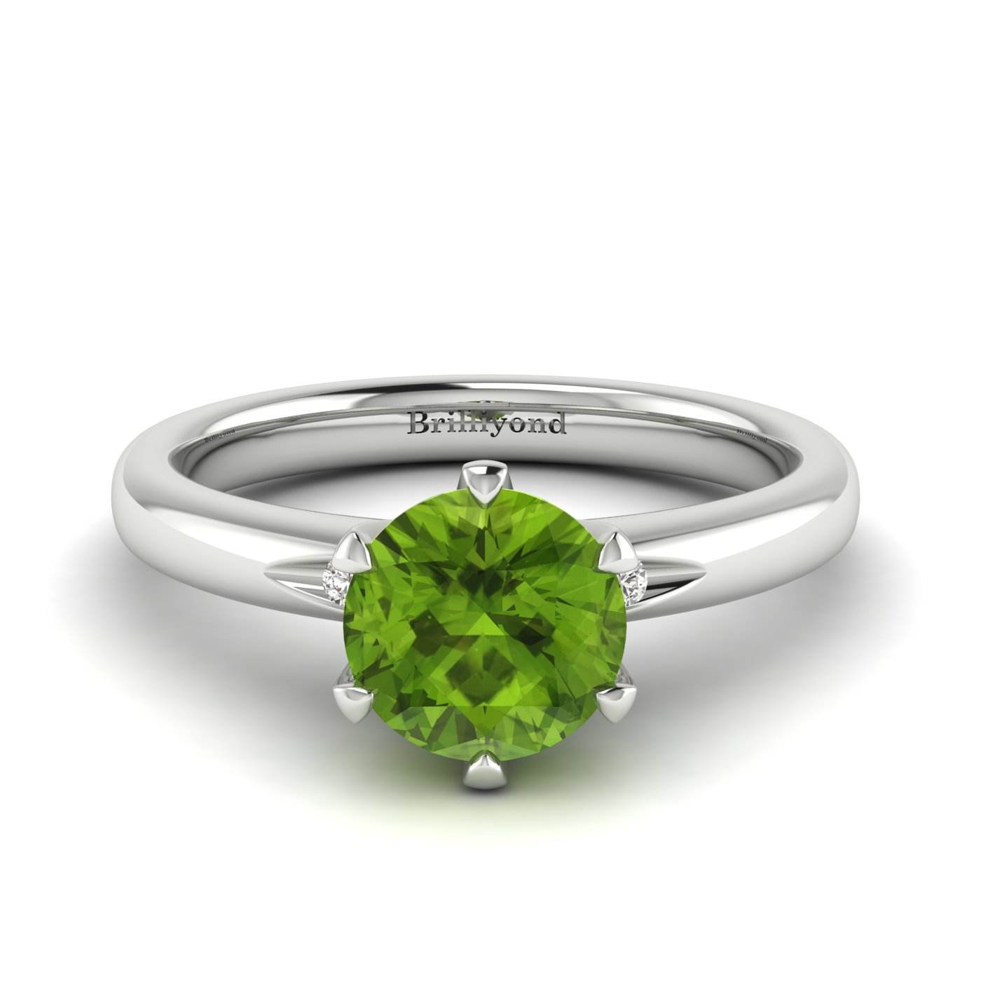 Peridot White Gold Solitaire Engagement Ring Byond