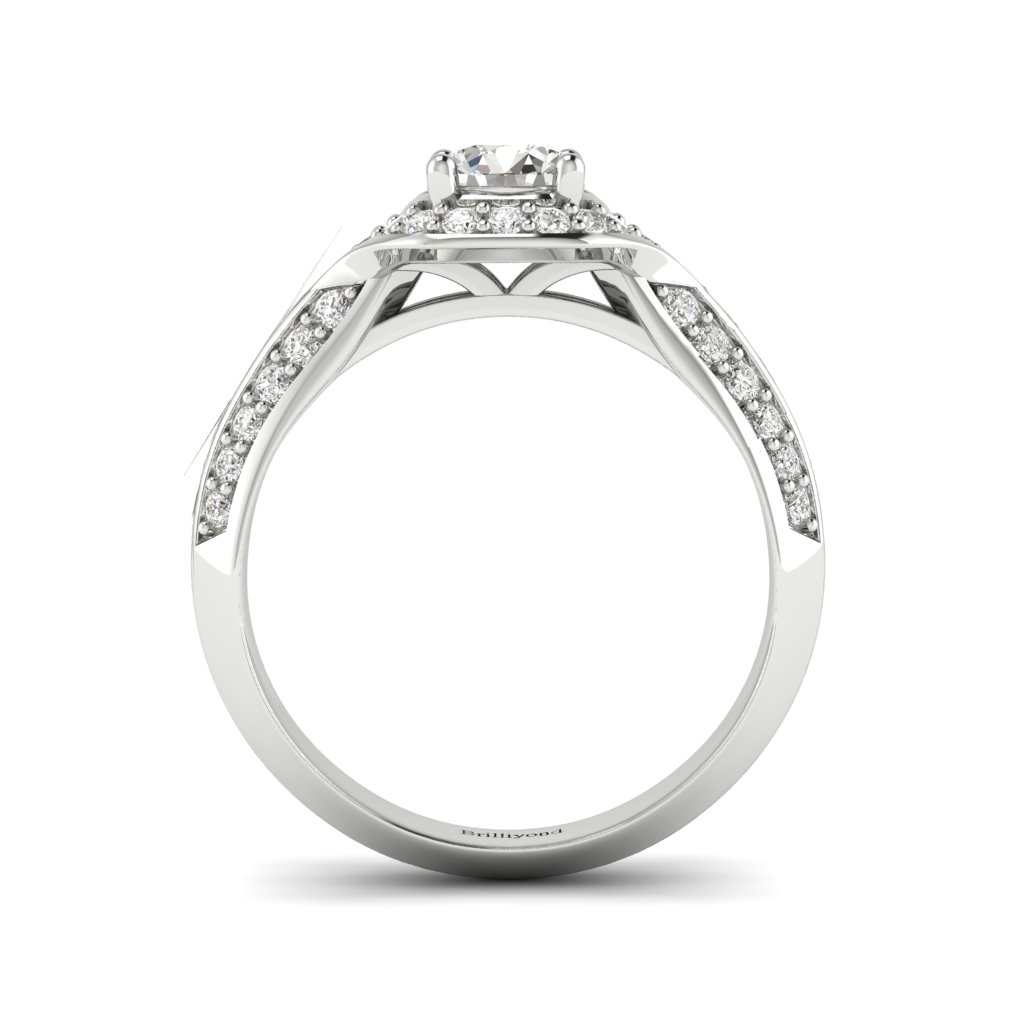 Halo Diamond Engagement Ring Meneka in White Gold