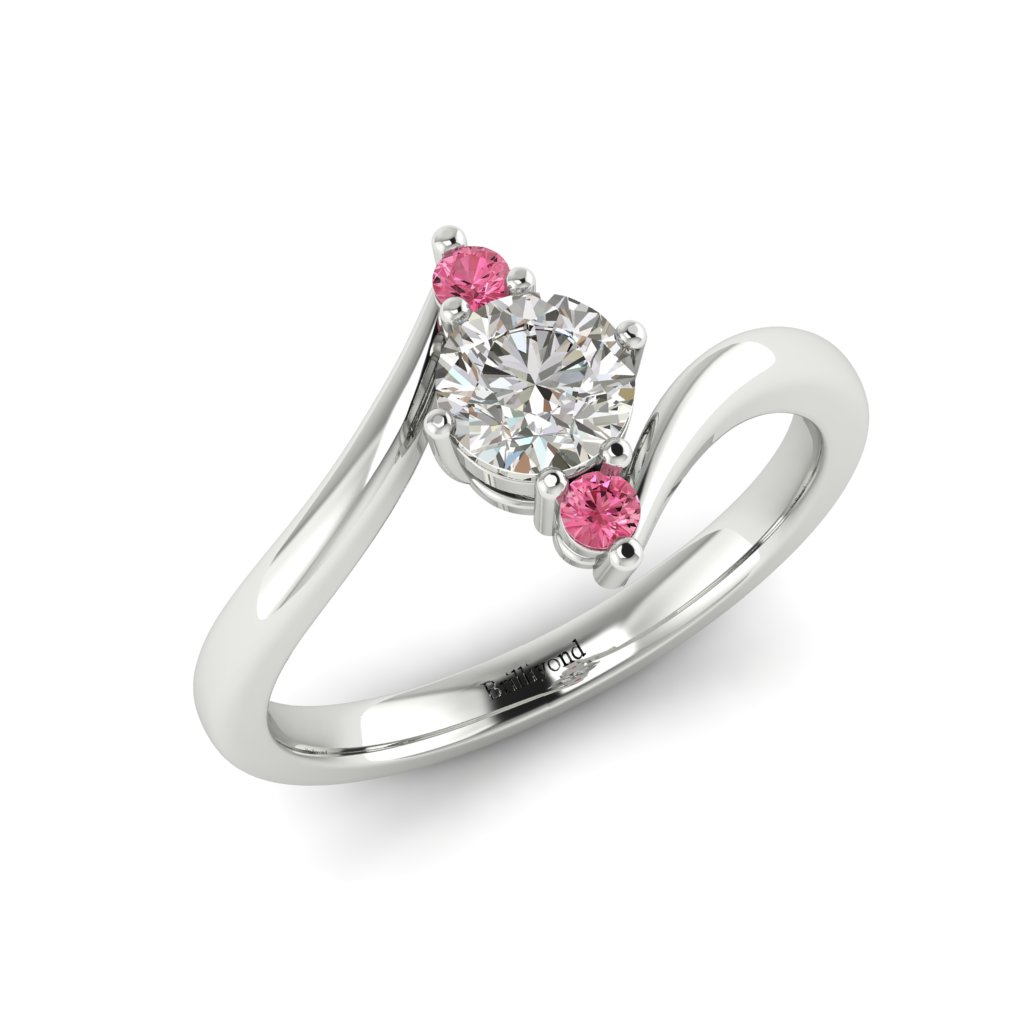 Diamond Twisted Engagement Ring Solemna in Platinum