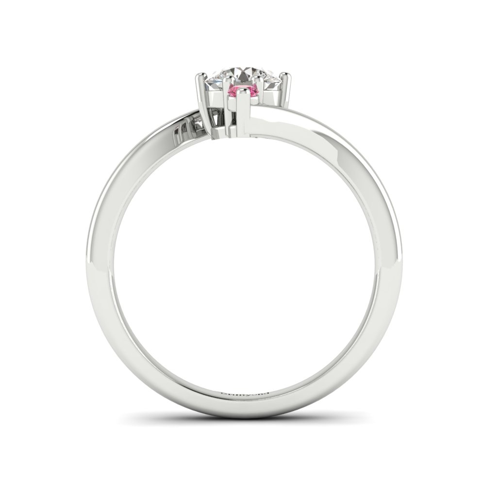 Diamond Twisted Engagement Ring Solemna in Platinum _image4
