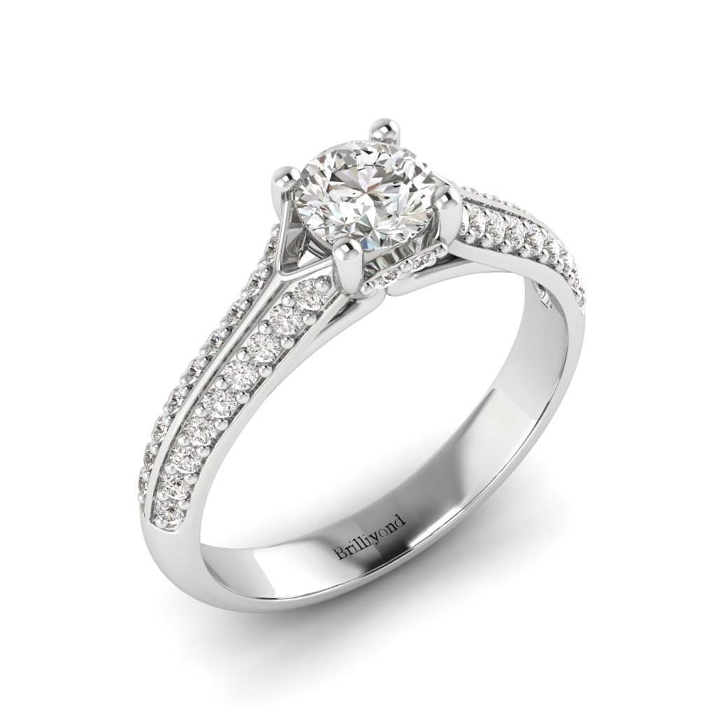 Vintage Diamond Engagement Ring Charlotte with dual Diamond Channels in White Gold
