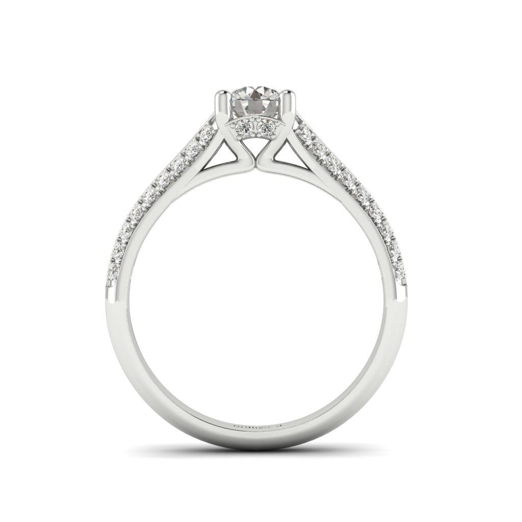 Vintage Diamond Engagement Ring Charlotte with dual Diamond Channels in Platinum