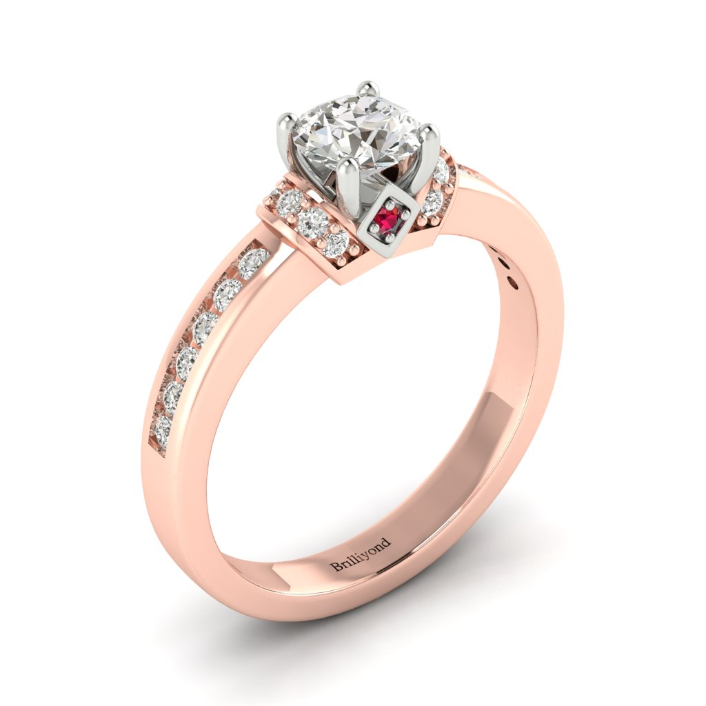 Diamond Two tone colour accented Engagement Ring Bluebird in Rose Gold