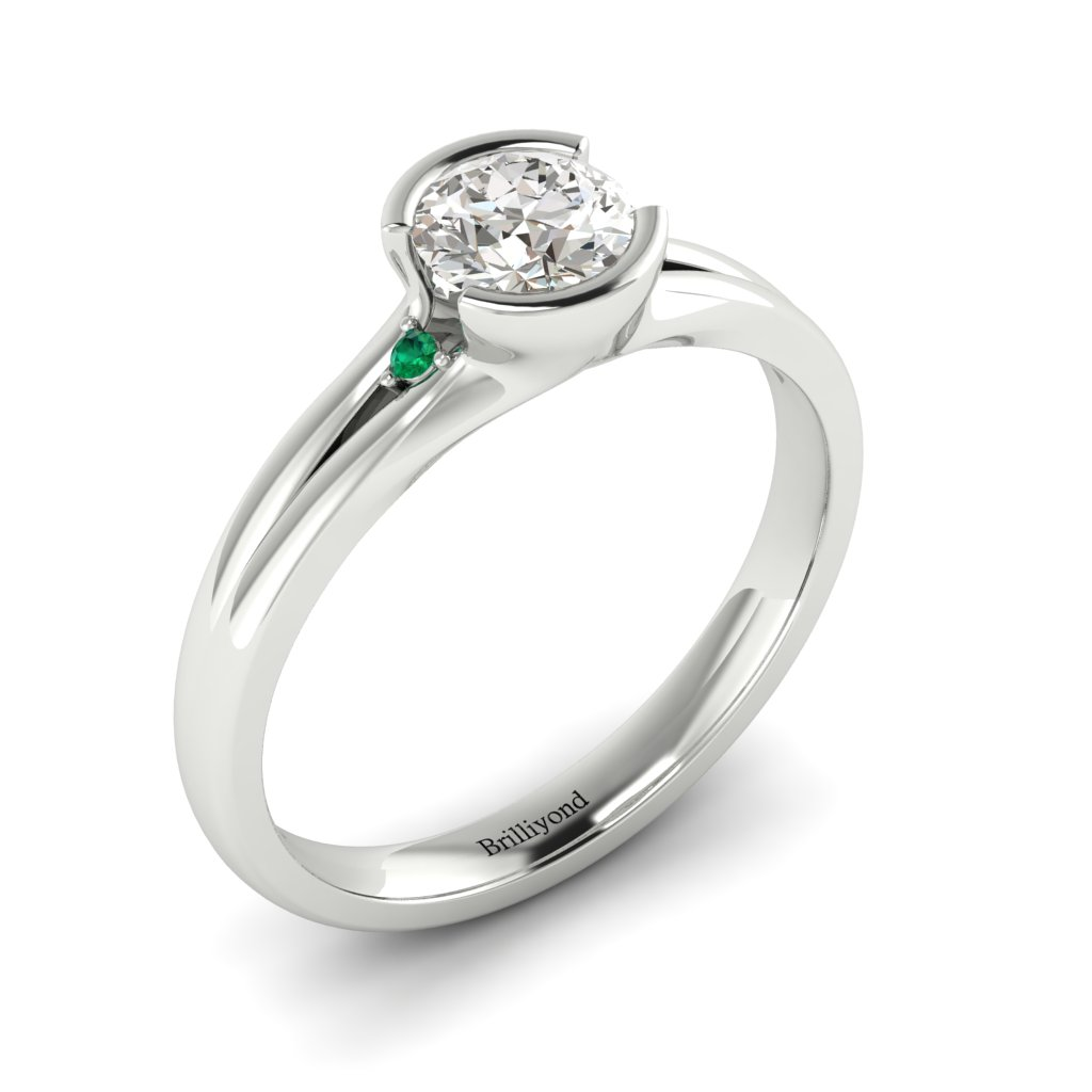 Diamond Bezel Engagement Ring Pacific in Platinum _image1