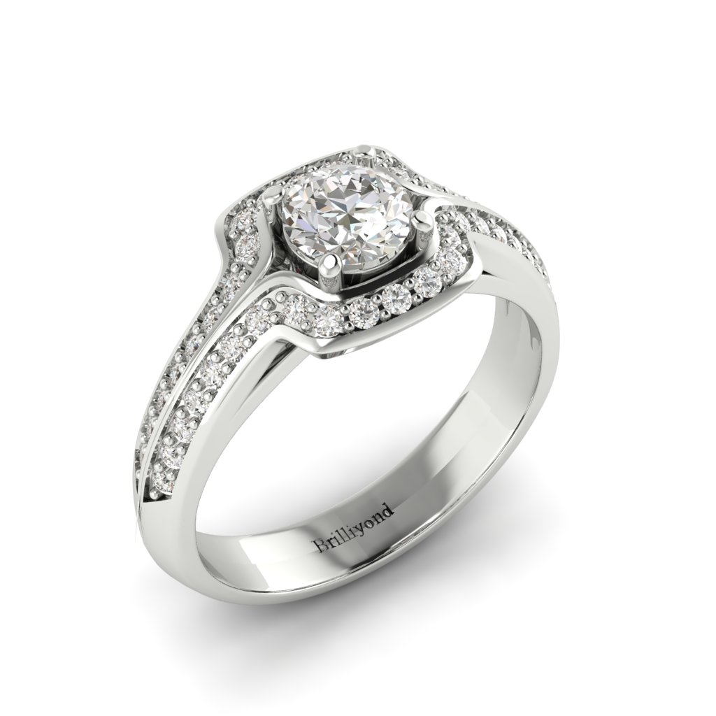 Halo Diamond Engagement Ring Dragoneye with Double Diamond Channels in Platinum _image1