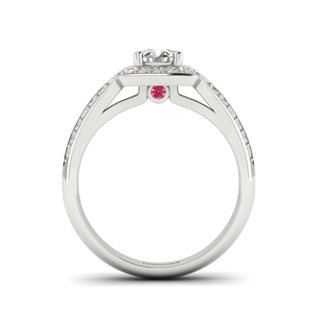 Halo Diamond Engagement Ring Dragoneye with Double Diamond Channels in Platinum _image2