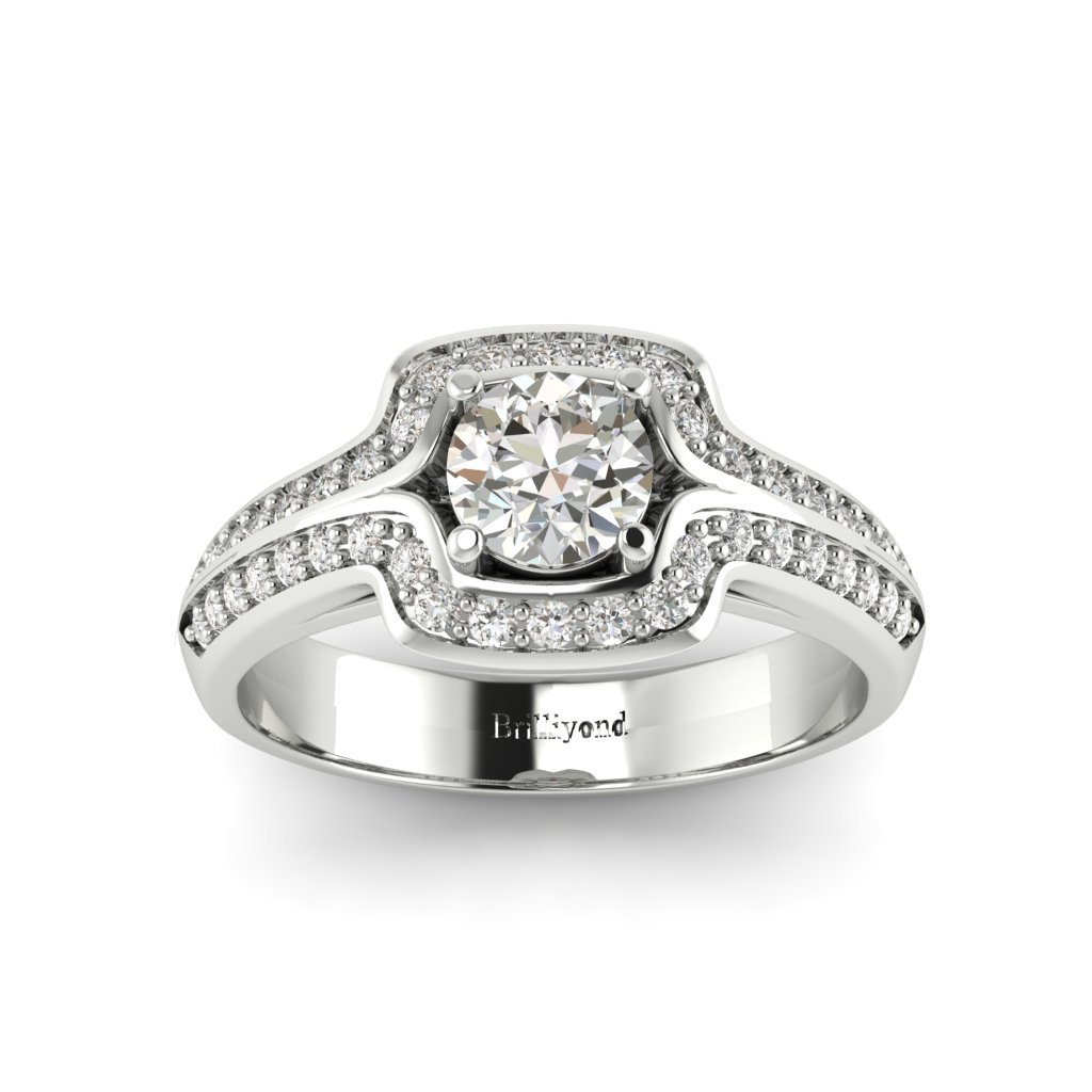Halo Diamond Engagement Ring Dragoneye with Double Diamond Channels in Platinum _image3
