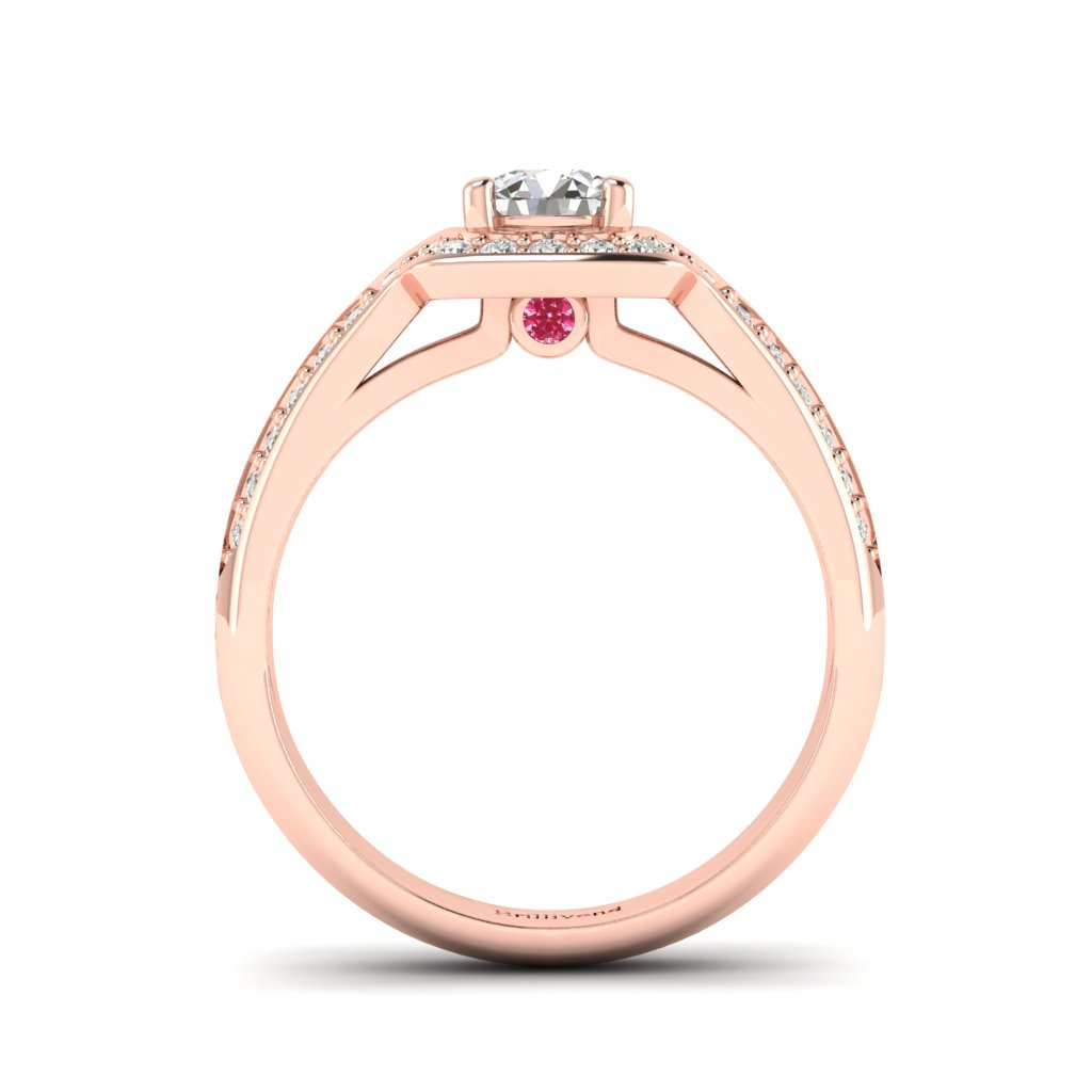 Diamond Halo Engagement Ring Dragoneye with Double Diamond Channels in Rose Gold