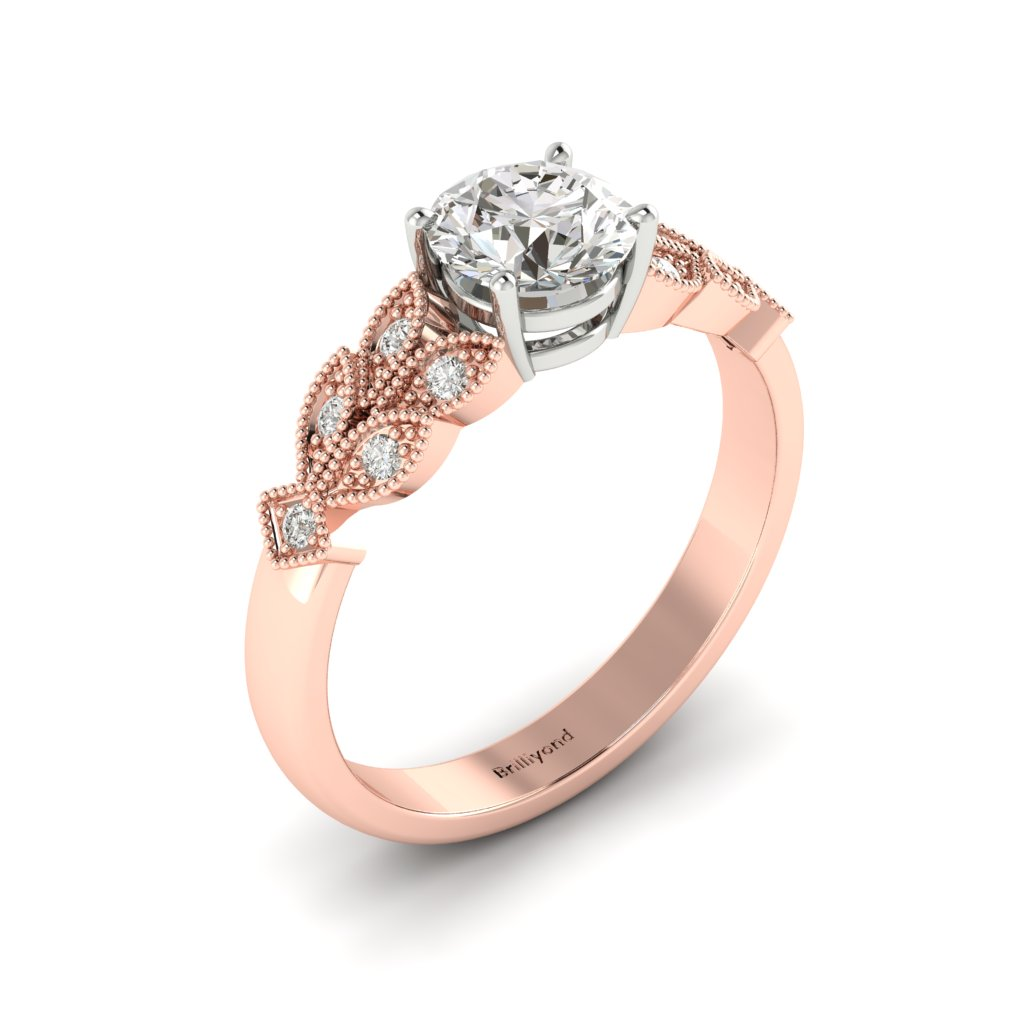 Diamond Victorian Engagement Ring Corsage in Rose Gold