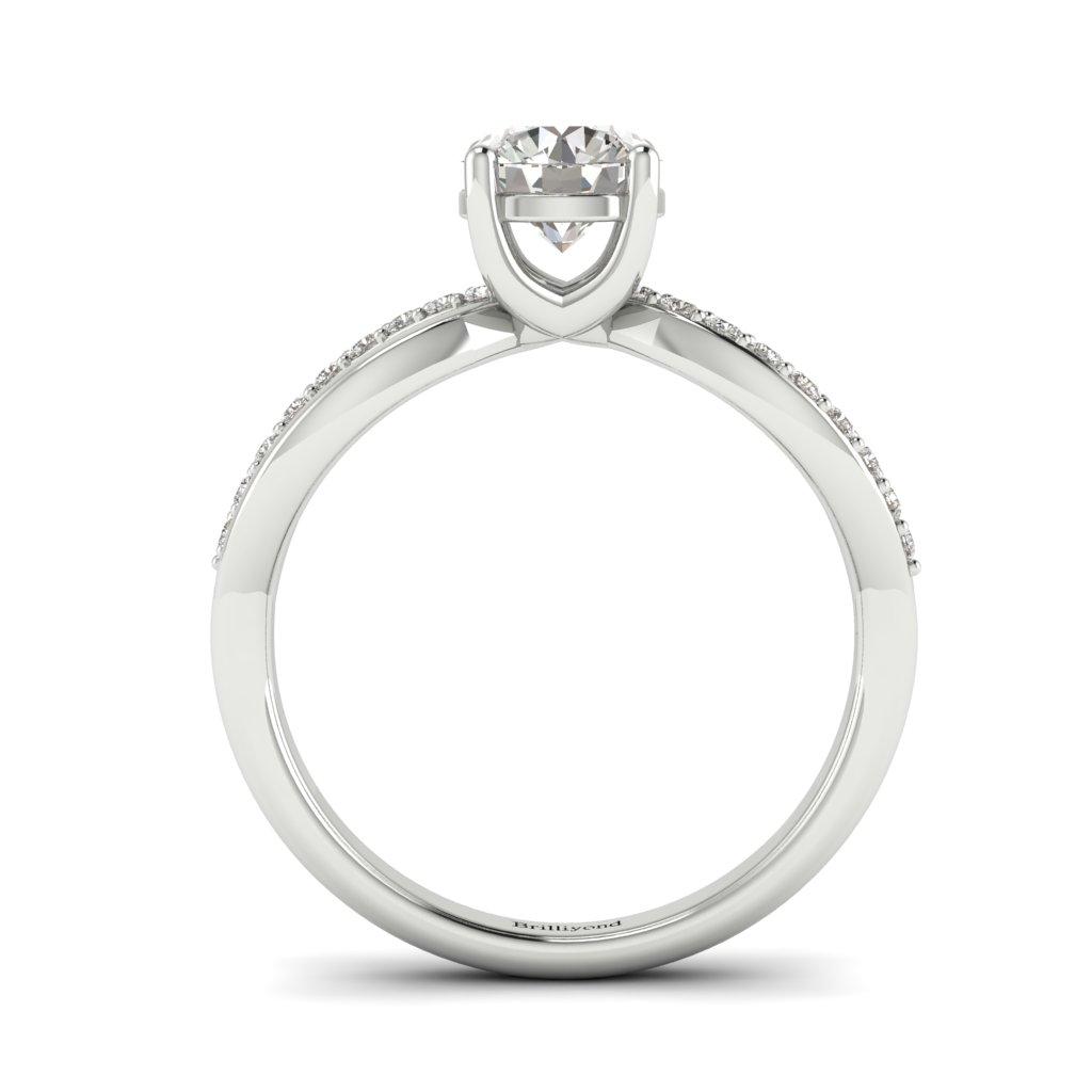 Diamond Split band Engagement Ring Meera in Platinum _image2