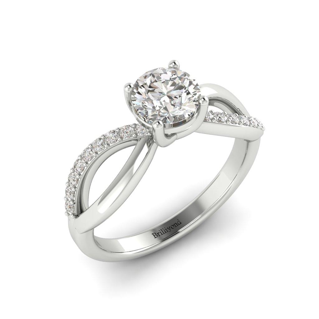 Diamond Split band Engagement Ring Meera in Platinum _image3