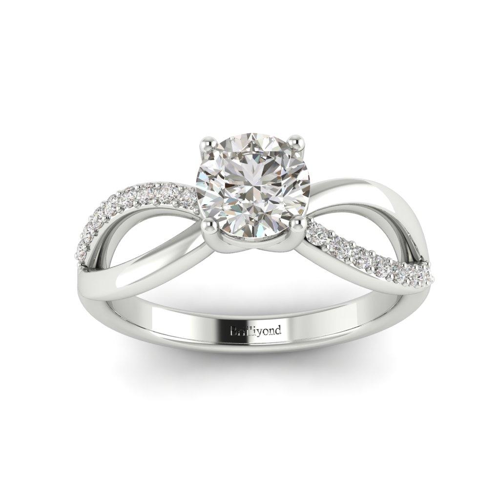 Diamond Split band Engagement Ring Meera in Platinum _image4