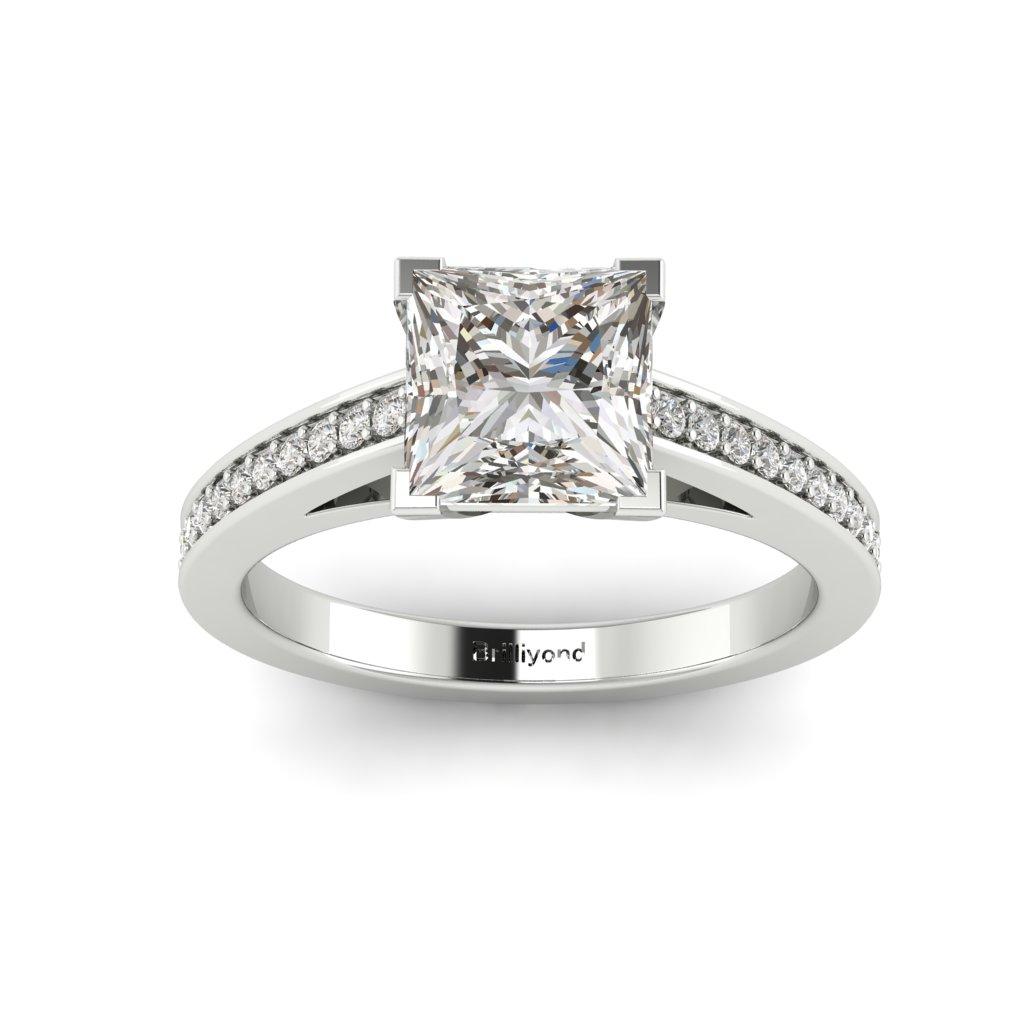 Princess cut Diamond Engagement Ring Volga in Platinum _image4