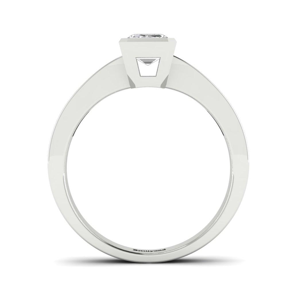 Diamond Emerald cut Engagement Ring Messardi in Platinum _image4