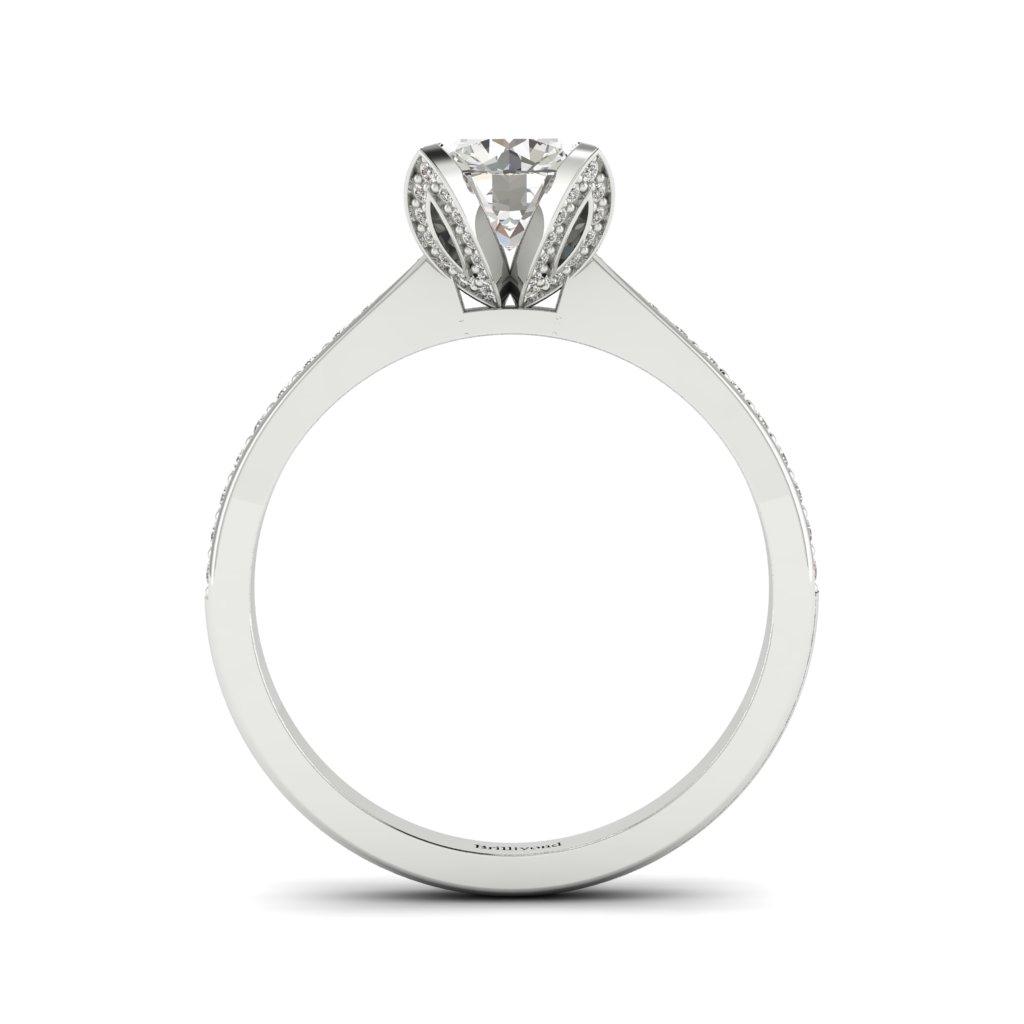 Floral Diamond Engagement Ring Tulip in Platinum _image1