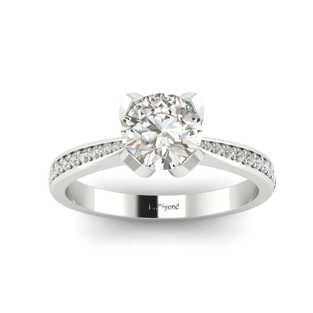 Floral Diamond Engagement Ring Tulip in Platinum _image2