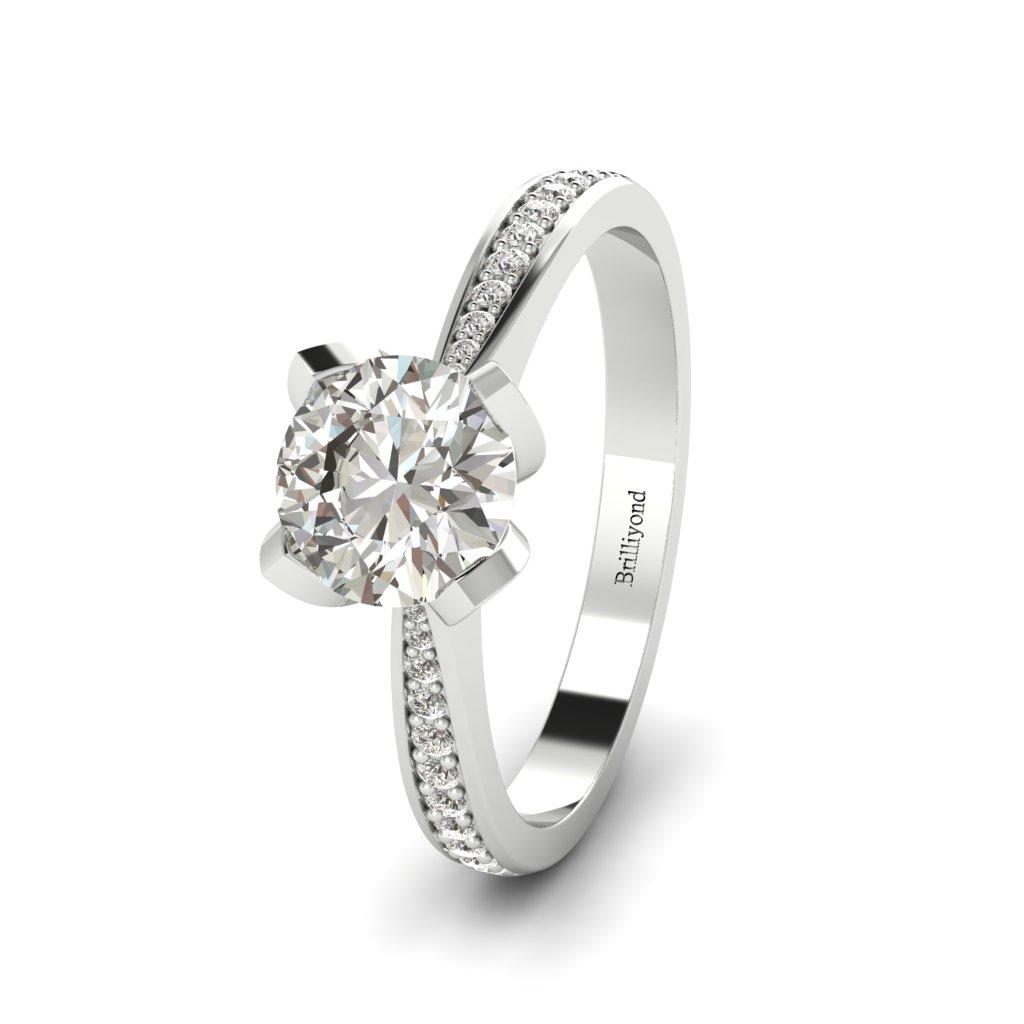 Floral Diamond Engagement Ring Tulip in Platinum _image4