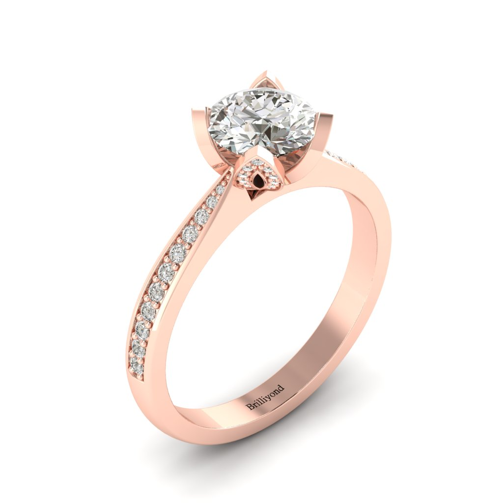 Diamond Floral Engagement Ring Tulip in Rose Gold