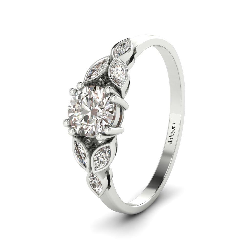 Diamond Victorian Engagement Ring Roses in Platinum _image1