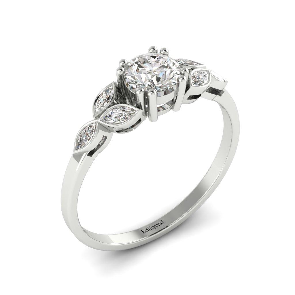 Diamond Victorian Engagement Ring Roses in Platinum _image2