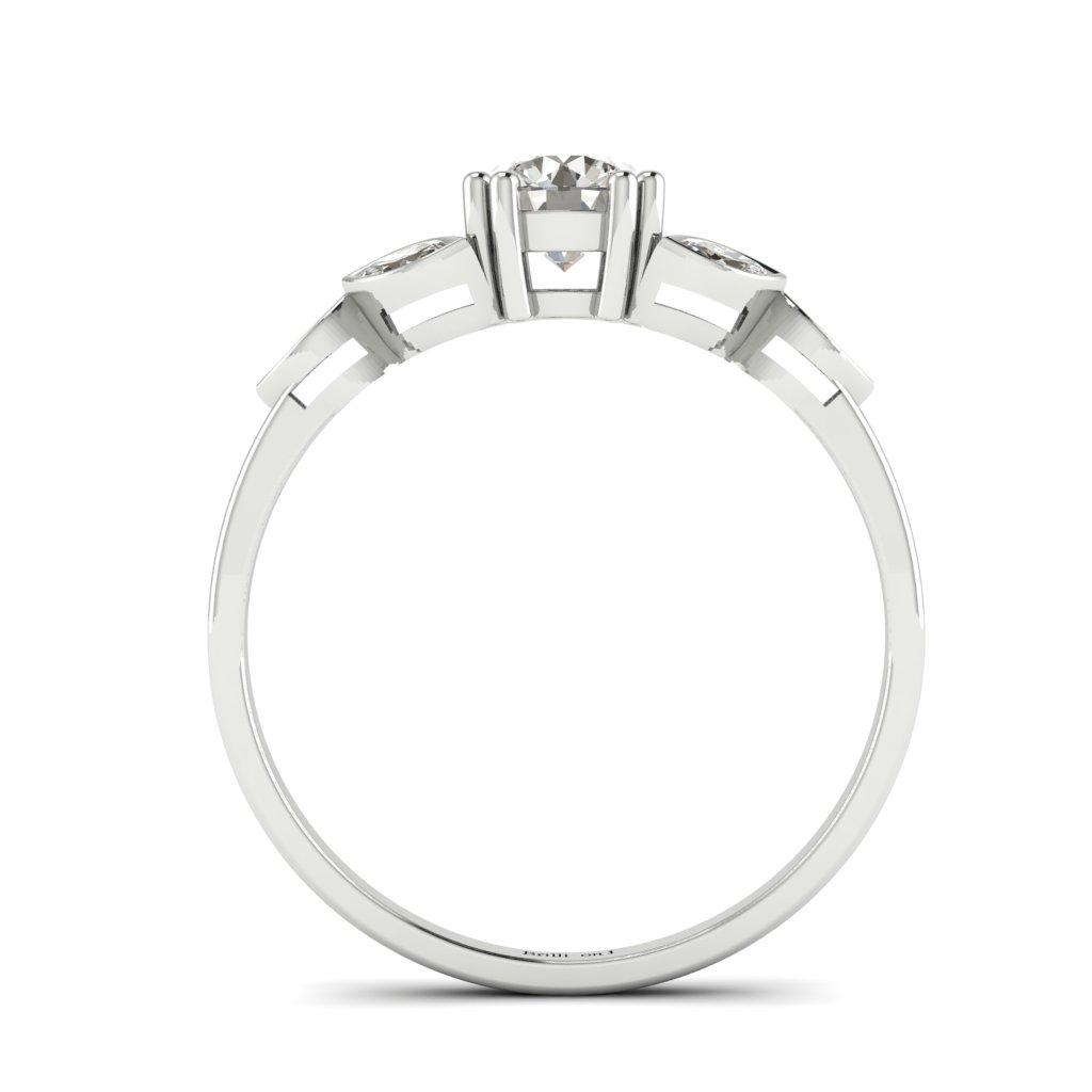 Diamond Victorian Engagement Ring Roses in Platinum _image4