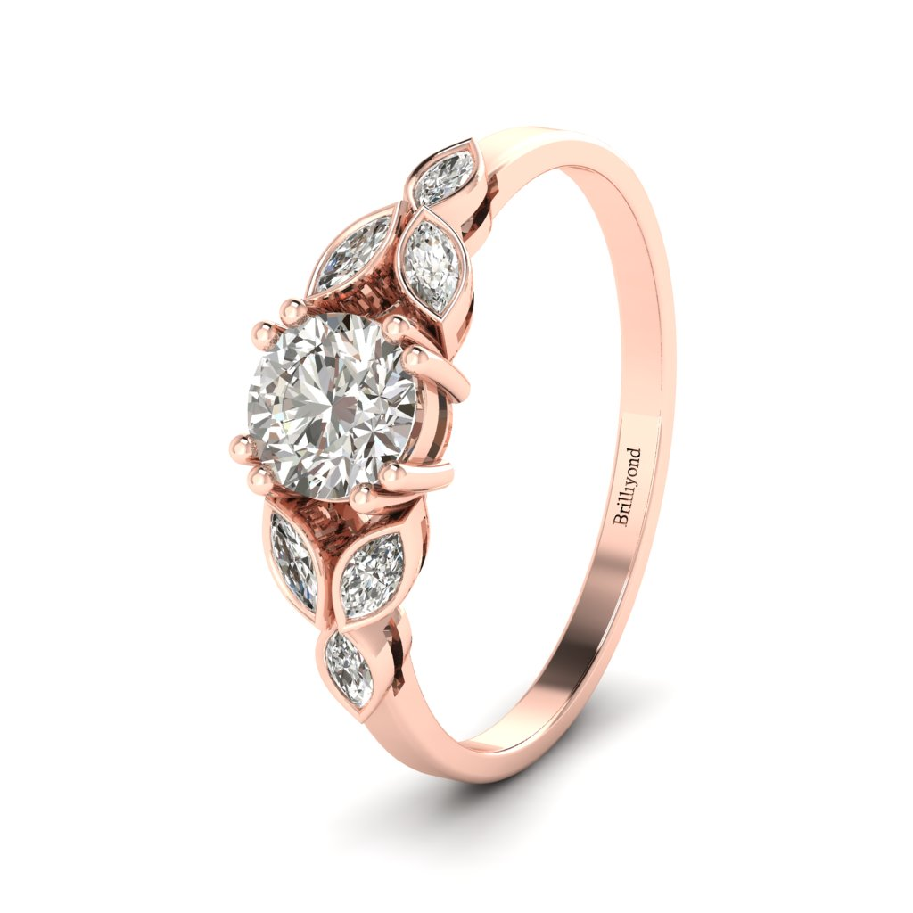 Victorian Diamond Engagement Ring Roses in Rose Gold