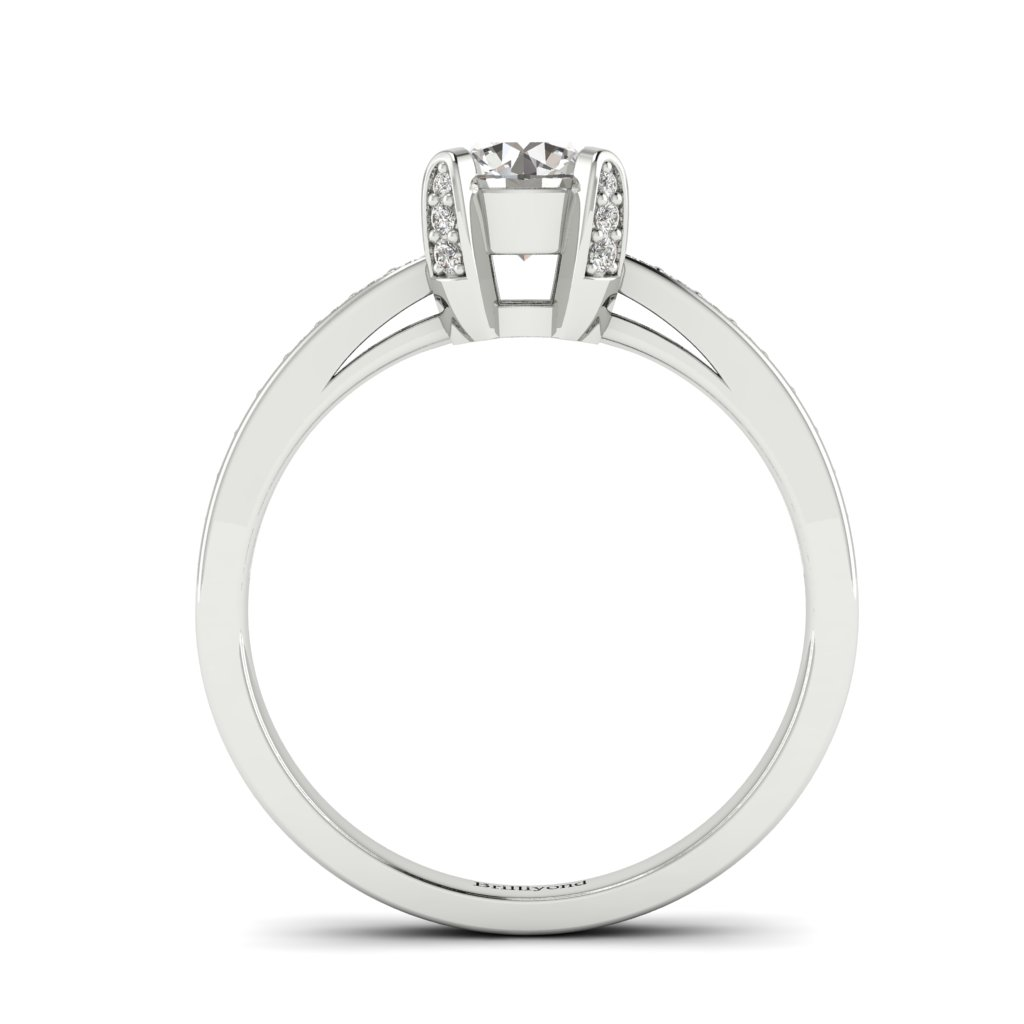 Diamond Brilliant Engagement Ring Seychelles with Diamond Accented Prongs in Platinum _image2