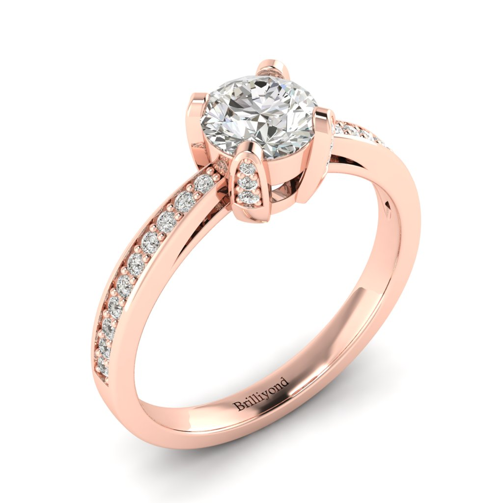 Brilliant Cut Diamond Engagement Ring Seychelles with Diamond Accented Prongs in Rose Gold _image1