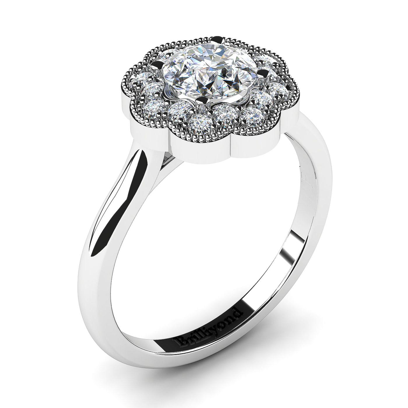 Diamond Halo Engagement Ring Bohemian in Platinum