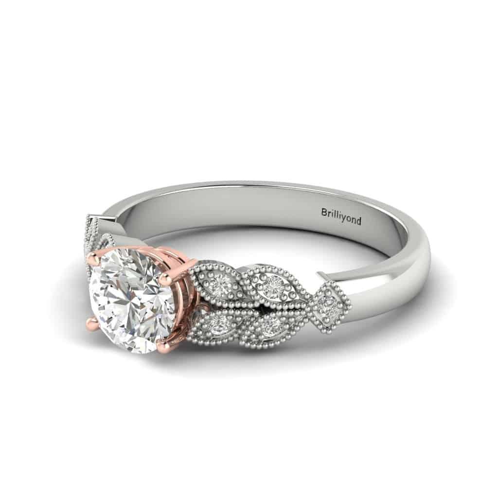Victorian Diamond Engagement Ring Corsage in Platinum