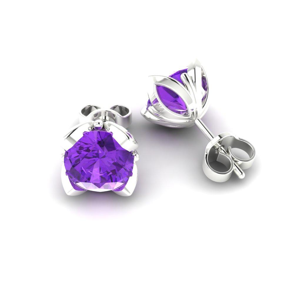 Amethyst Sterling Silver Tulip Stud Earrings_image1