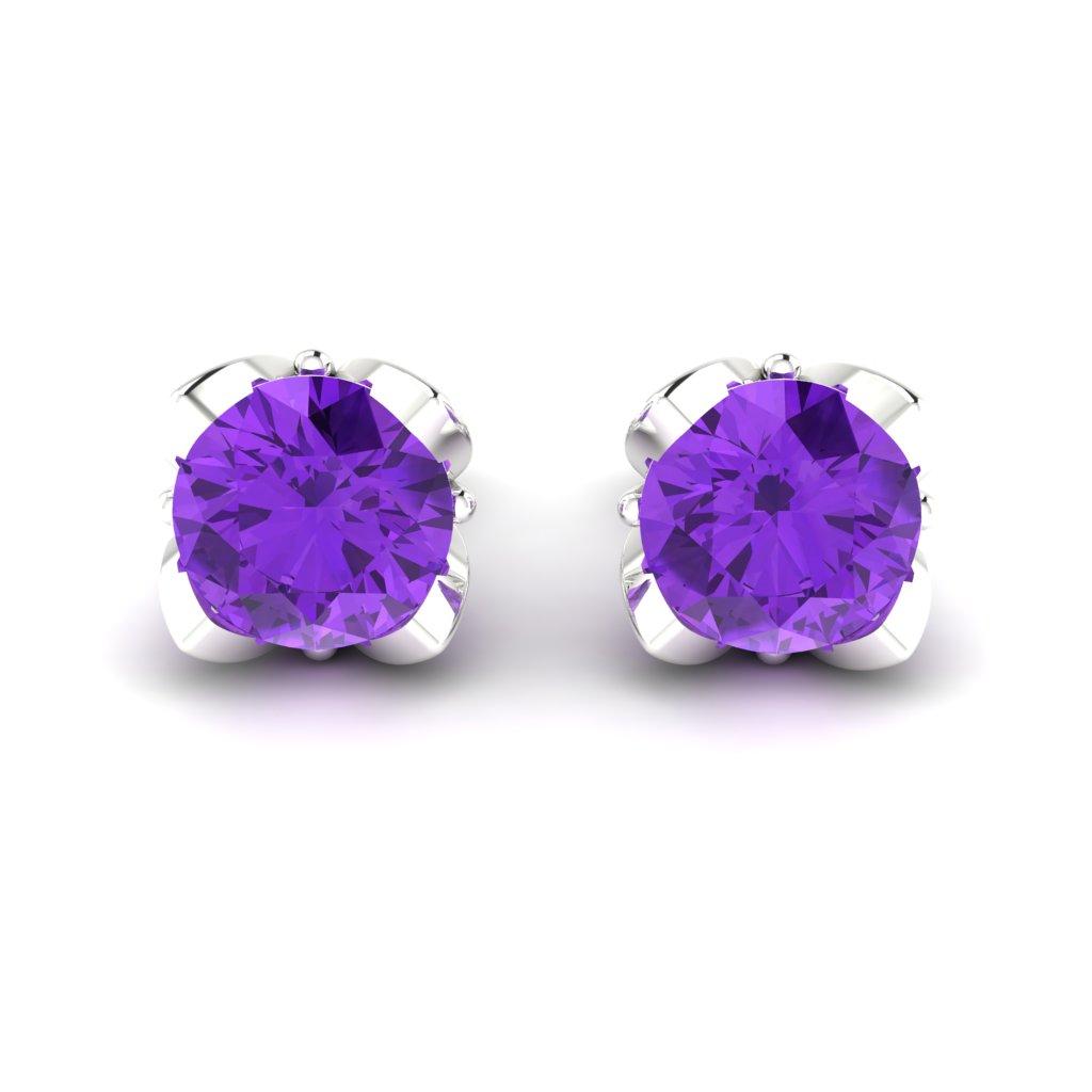 Amethyst Sterling Silver Tulip Stud Earrings_image2