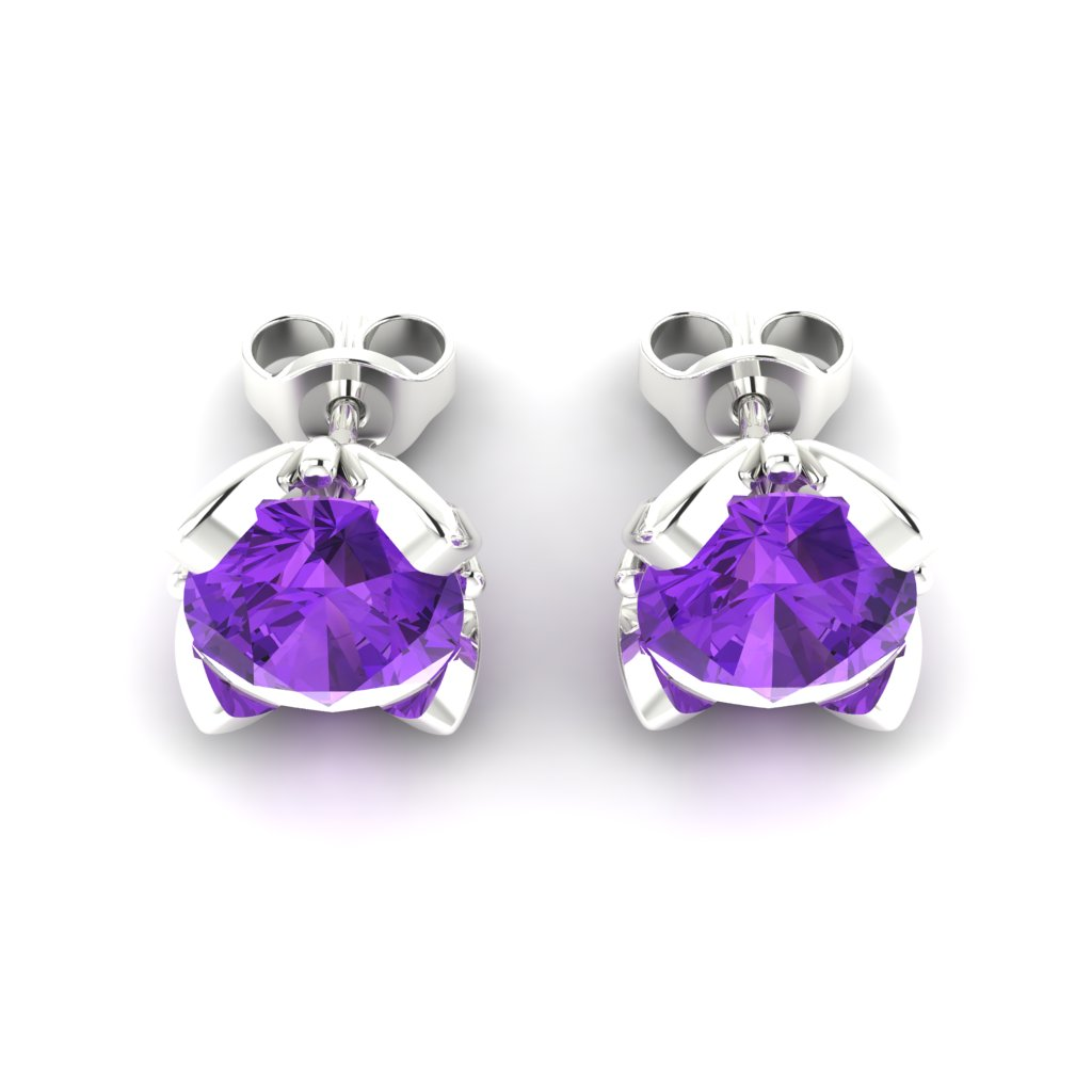 Amethyst Sterling Silver Tulip Stud Earrings_image3