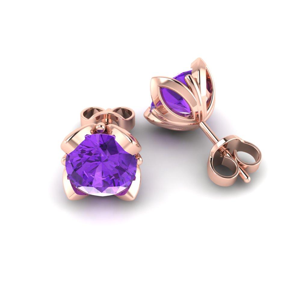 Amethyst Rose Gold Tulip Stud Earrings_image1