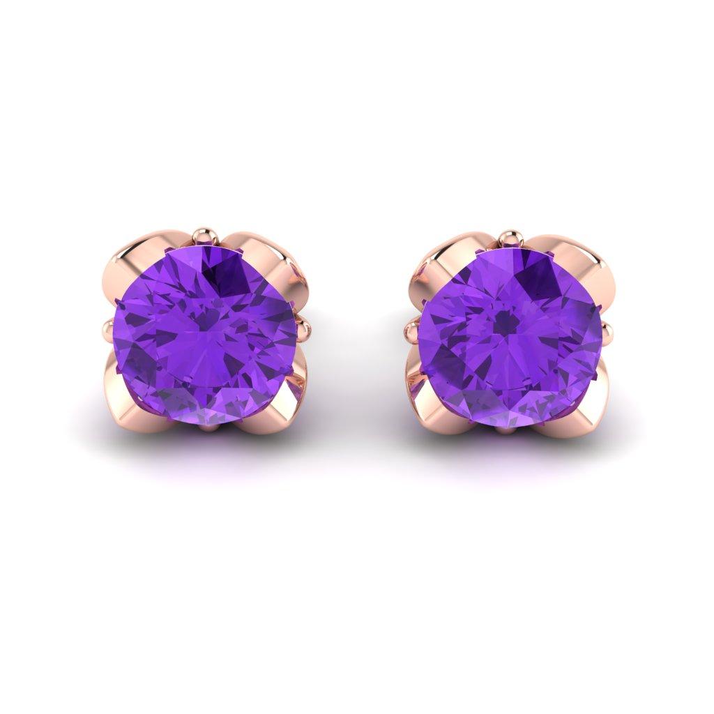 Amethyst Rose Gold Tulip Stud Earrings_image2
