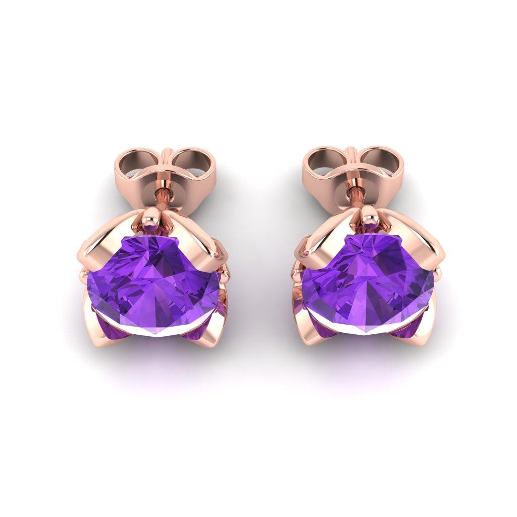 Amethyst Rose Gold Tulip Stud Earrings_image3