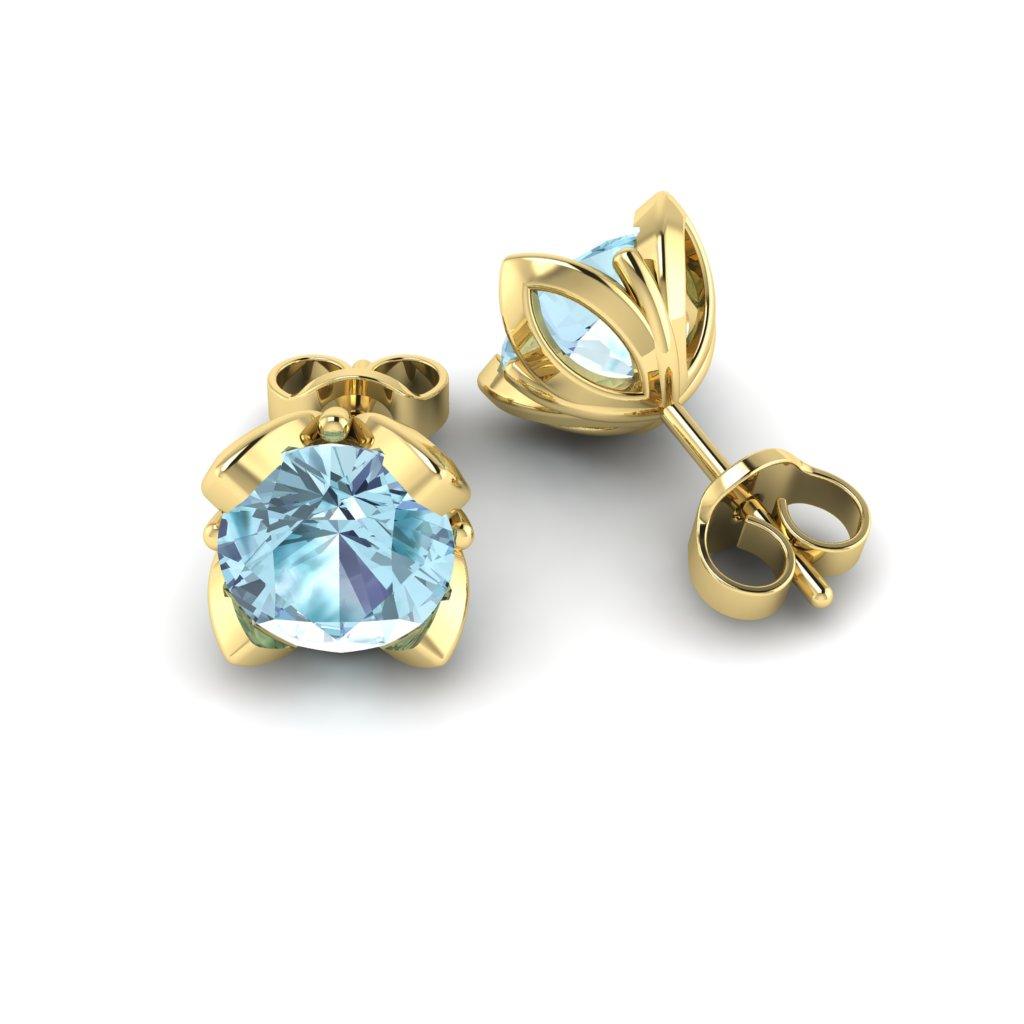 Blue Topaz Yellow Gold Tulip Stud Earrings_image1