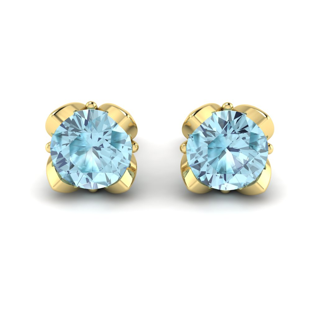 Blue Topaz Yellow Gold Tulip Stud Earrings_image2