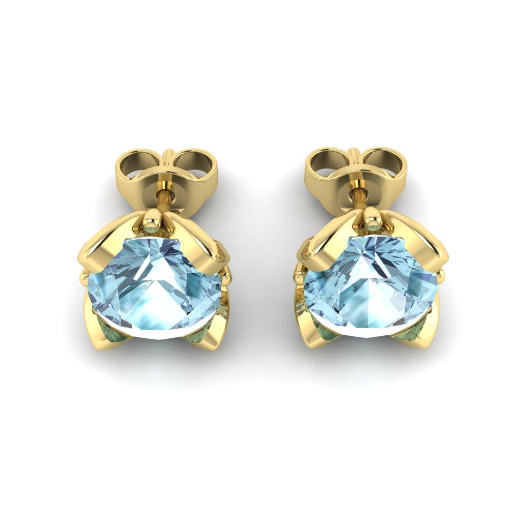 Blue Topaz Yellow Gold Tulip Stud Earrings_image3