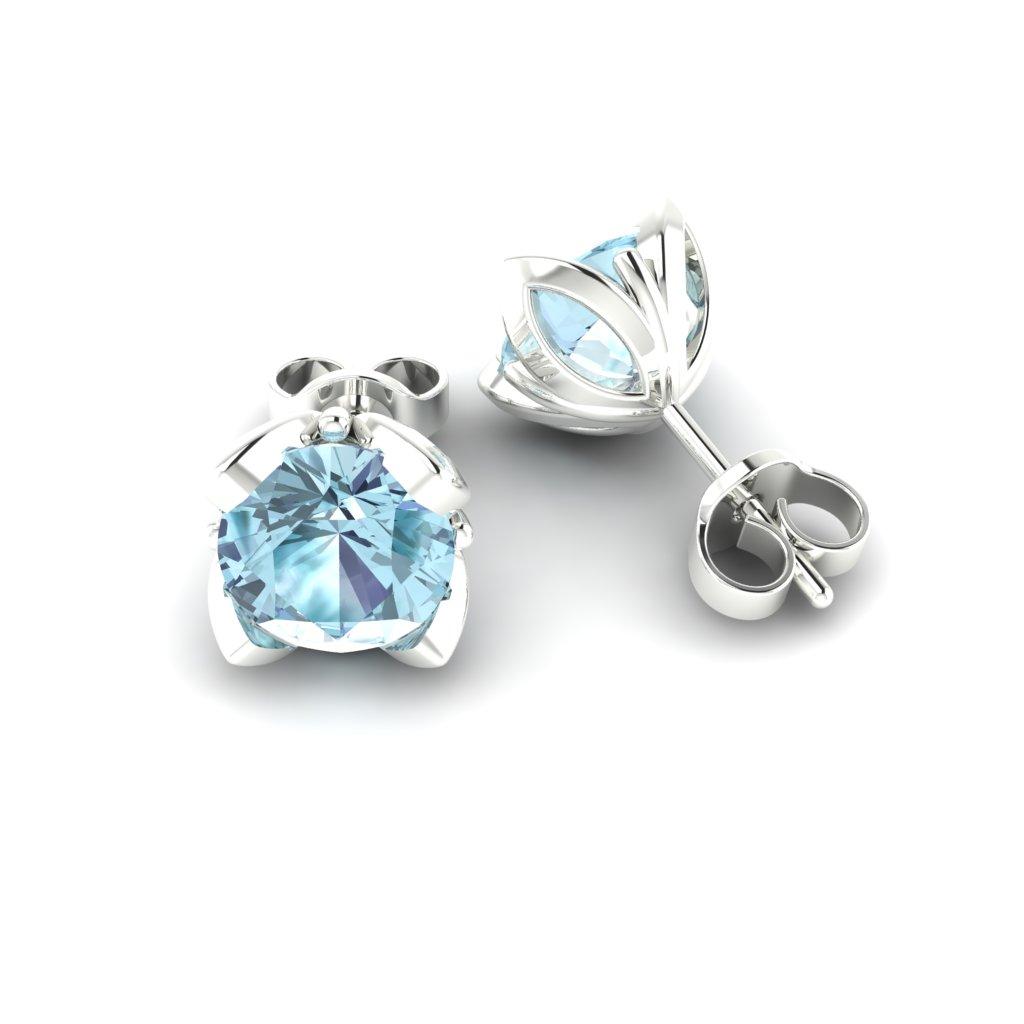Blue Topaz White Gold Tulip Stud Earrings_image1