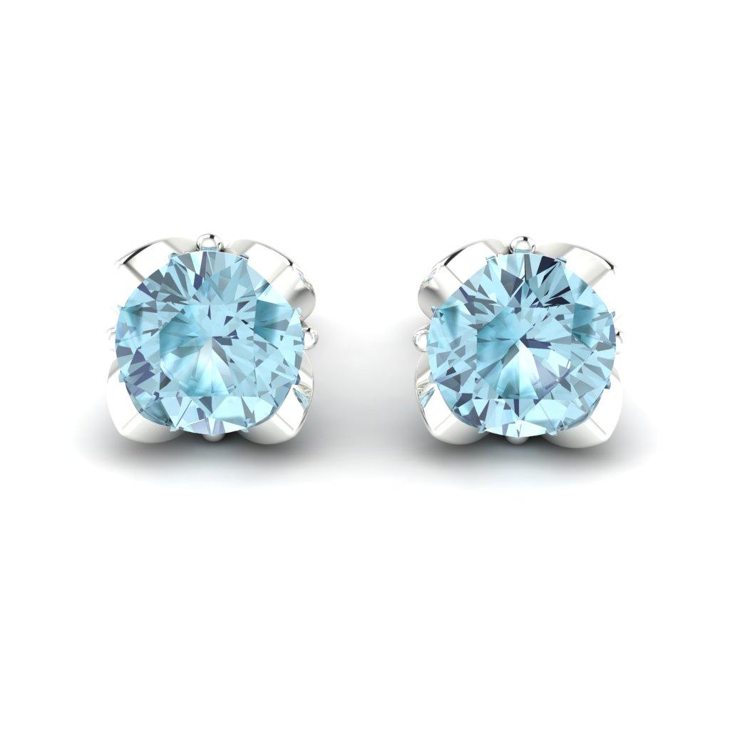 Blue Topaz White Gold Tulip Stud Earrings_image2