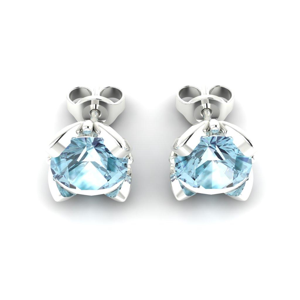 Blue Topaz White Gold Tulip Stud Earrings_image3