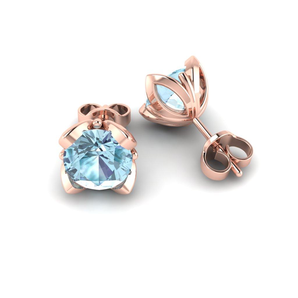 Blue Topaz Rose Gold Tulip Stud Earrings_image1