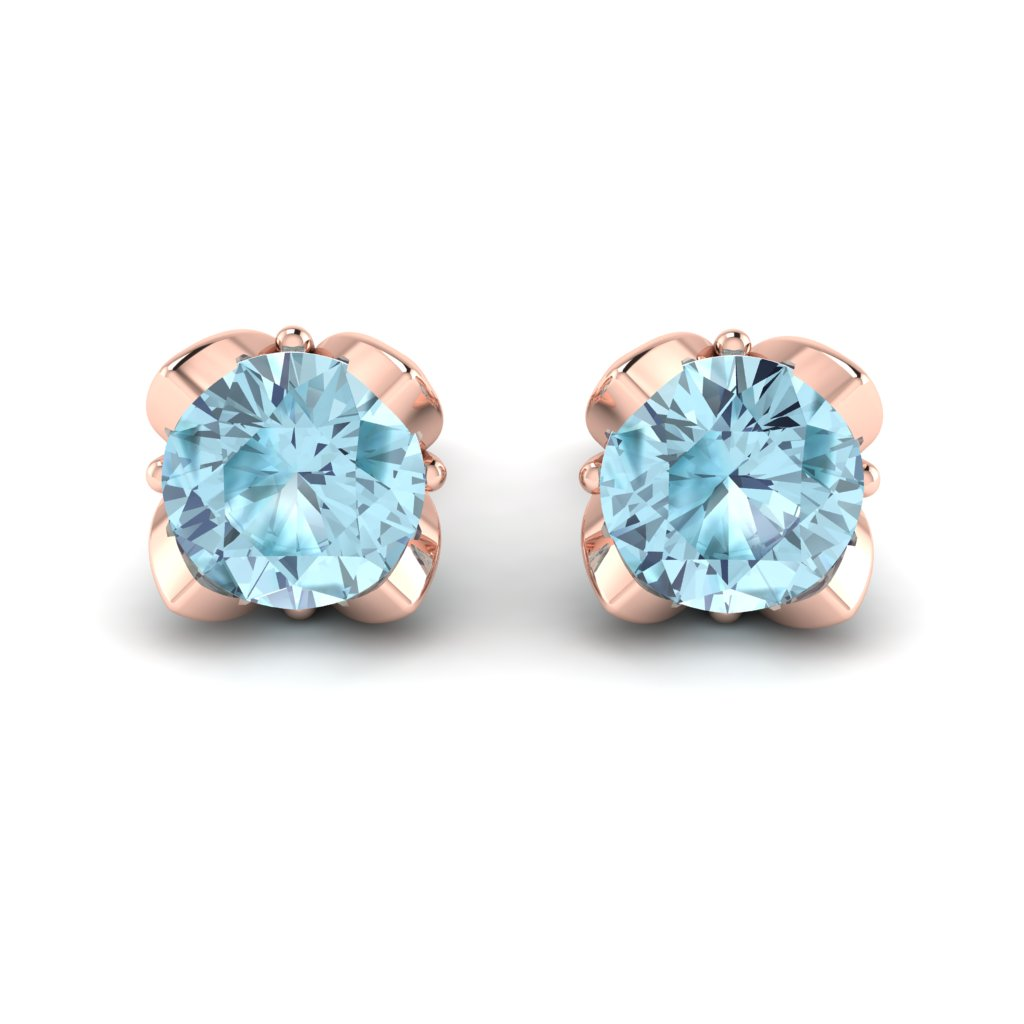 Blue Topaz Rose Gold Tulip Stud Earrings_image2