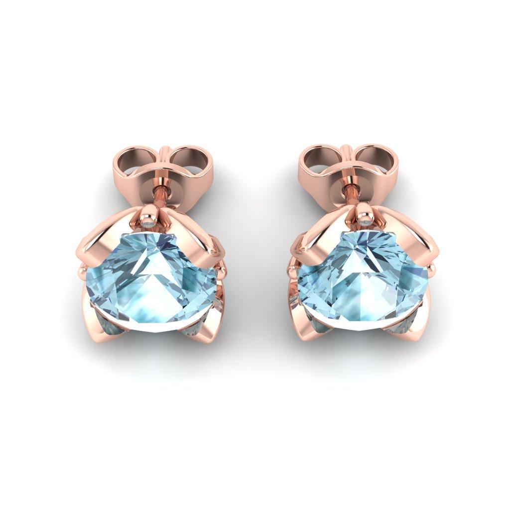 Blue Topaz Rose Gold Tulip Stud Earrings_image3