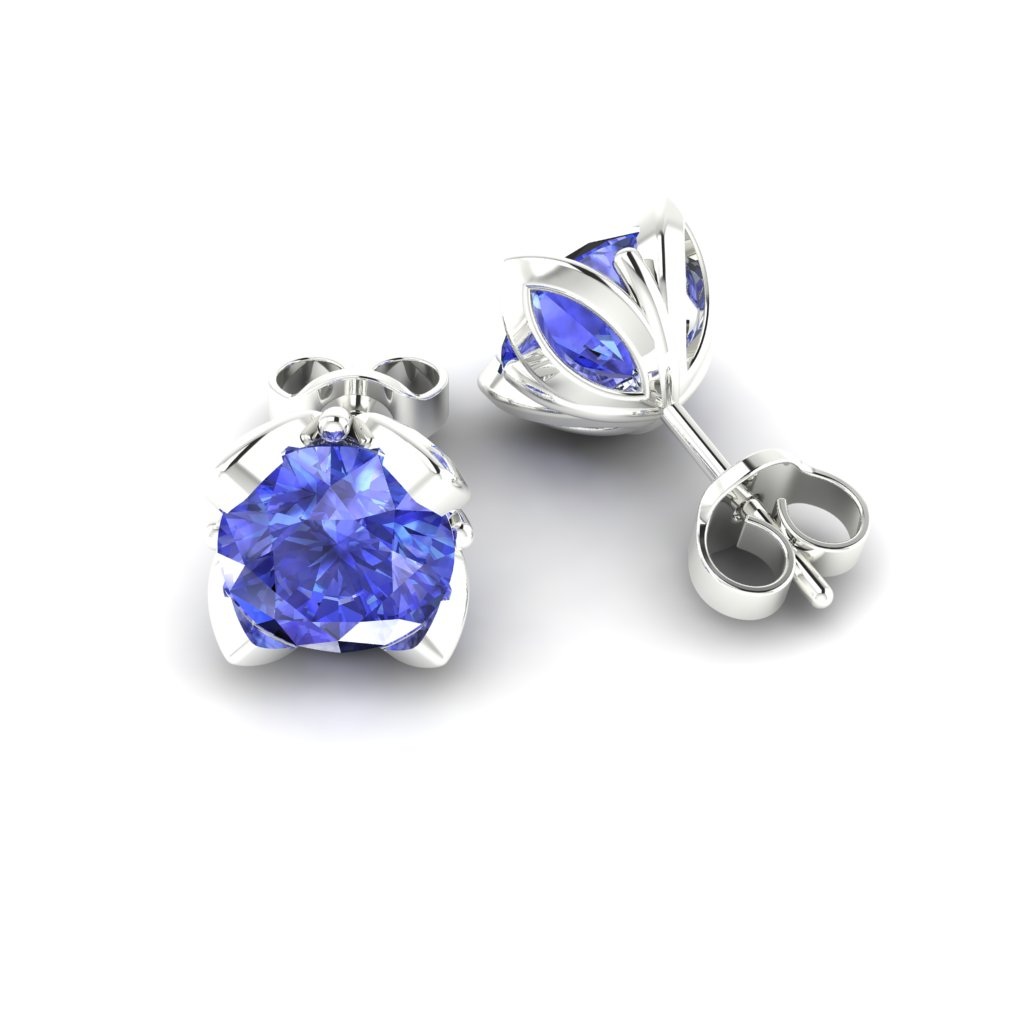 Blue Sapphire Sterling Silver Tulip Stud Earrings_image1