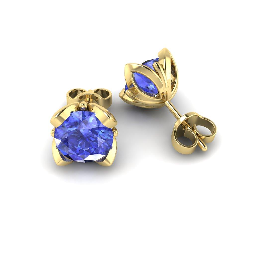 Blue Sapphire Yellow Gold Tulip Stud Earrings_image1