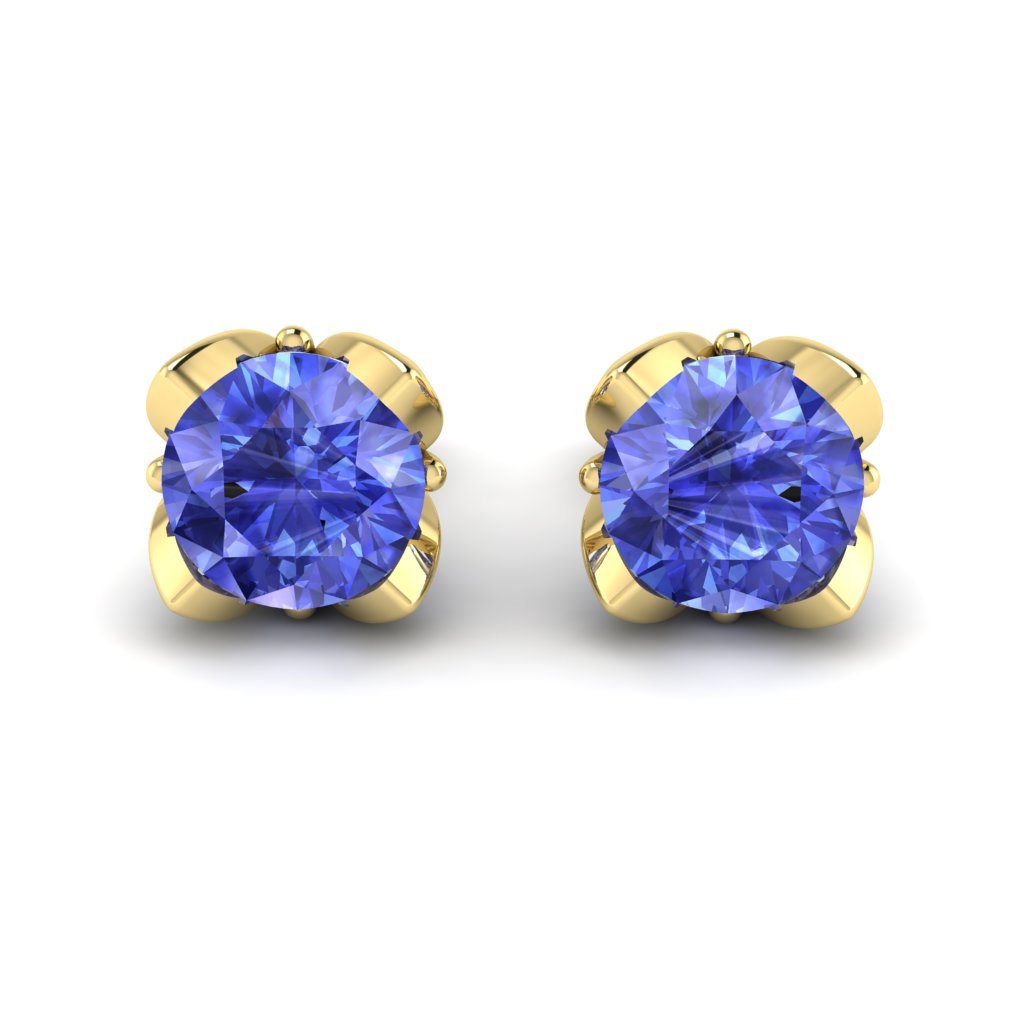 Blue Sapphire Yellow Gold Tulip Stud Earrings_image2