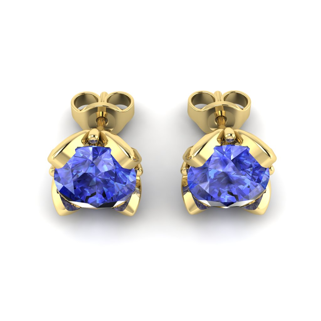 Blue Sapphire Yellow Gold Tulip Stud Earrings_image3